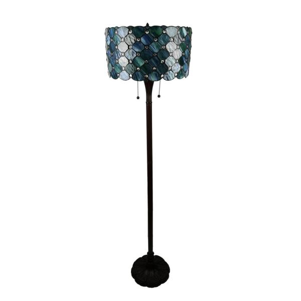 58 in. Contemporary Tiffany 2-Light Blue Jeweled Bronze Floor Lamp