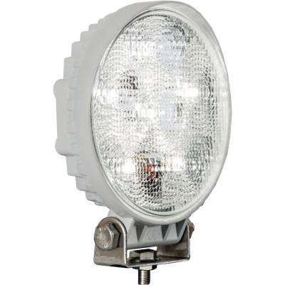 4.6 in. Round LED Clear Flood Light with White Housing