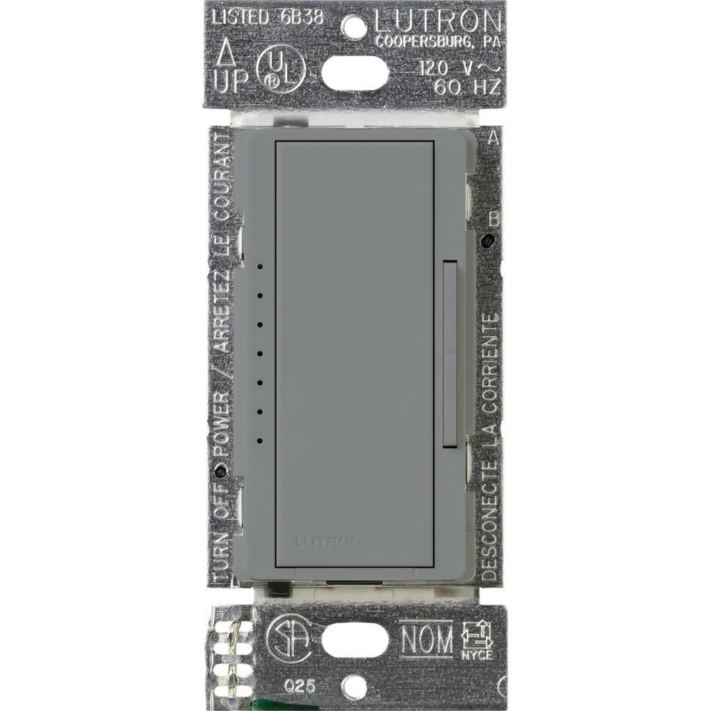 Maestro 600-Watt Multi-Location Electronic Low-Voltage Digital Dimmer - Gray
