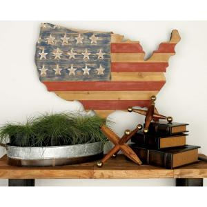 22 inch x 34 inch Rustic Iron Wood U.S Flag and Country Outline Wall Decor in Distressed Finish by