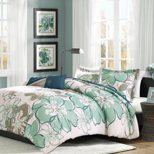 Mi Zone Skylar 3-Piece Blue/Grey Twin/Twin XL Floral Duvet Cover Set