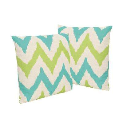 Adriatic Teal and Green Square Outdoor Throw Pillows (Set of 2)