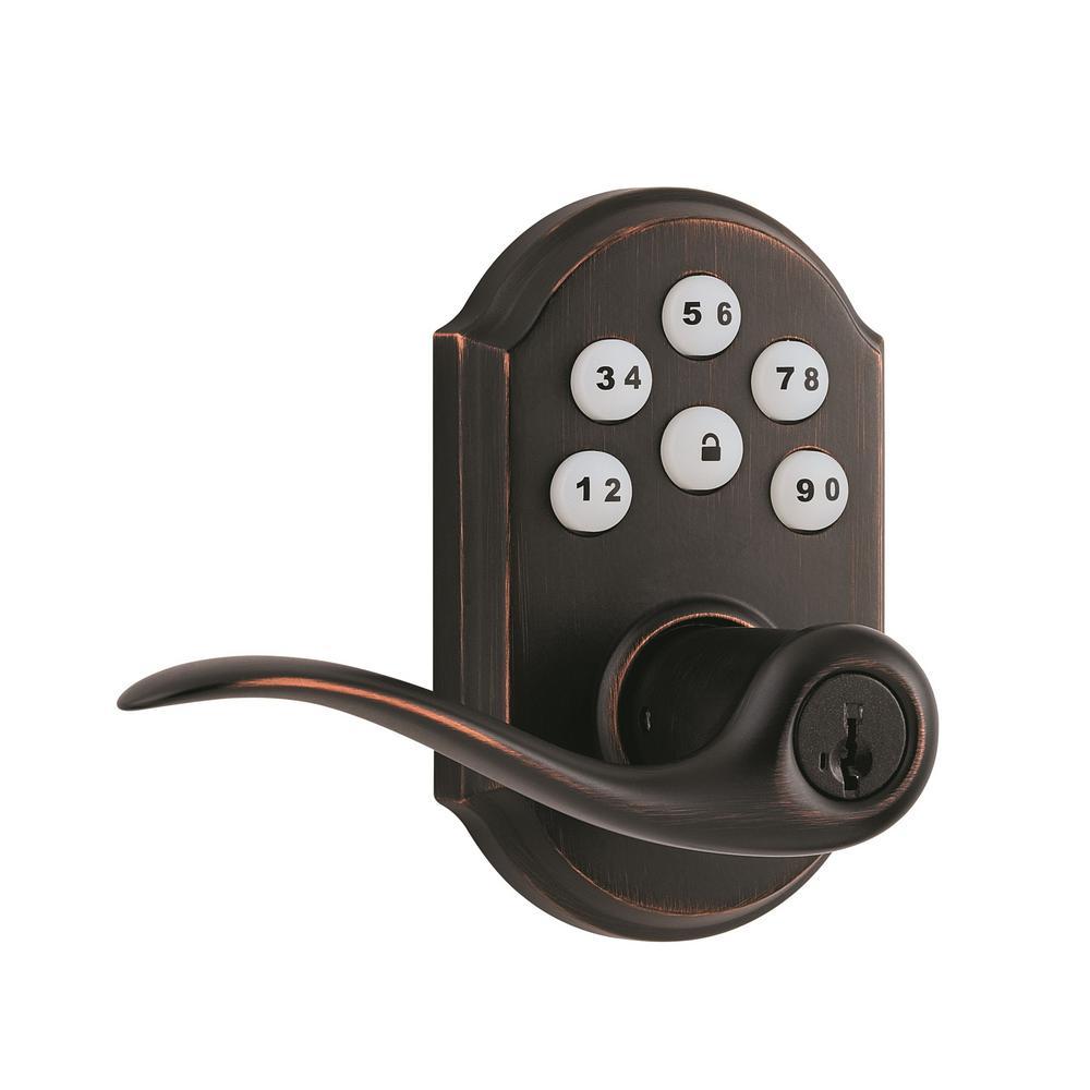 Z-Wave SmartCode Venetian Bronze Electronic Tustin Door Lever Featuring SmartKey Security