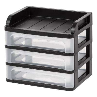 9.13 in. x 8.13 in. Black Small Desktop Drawer System