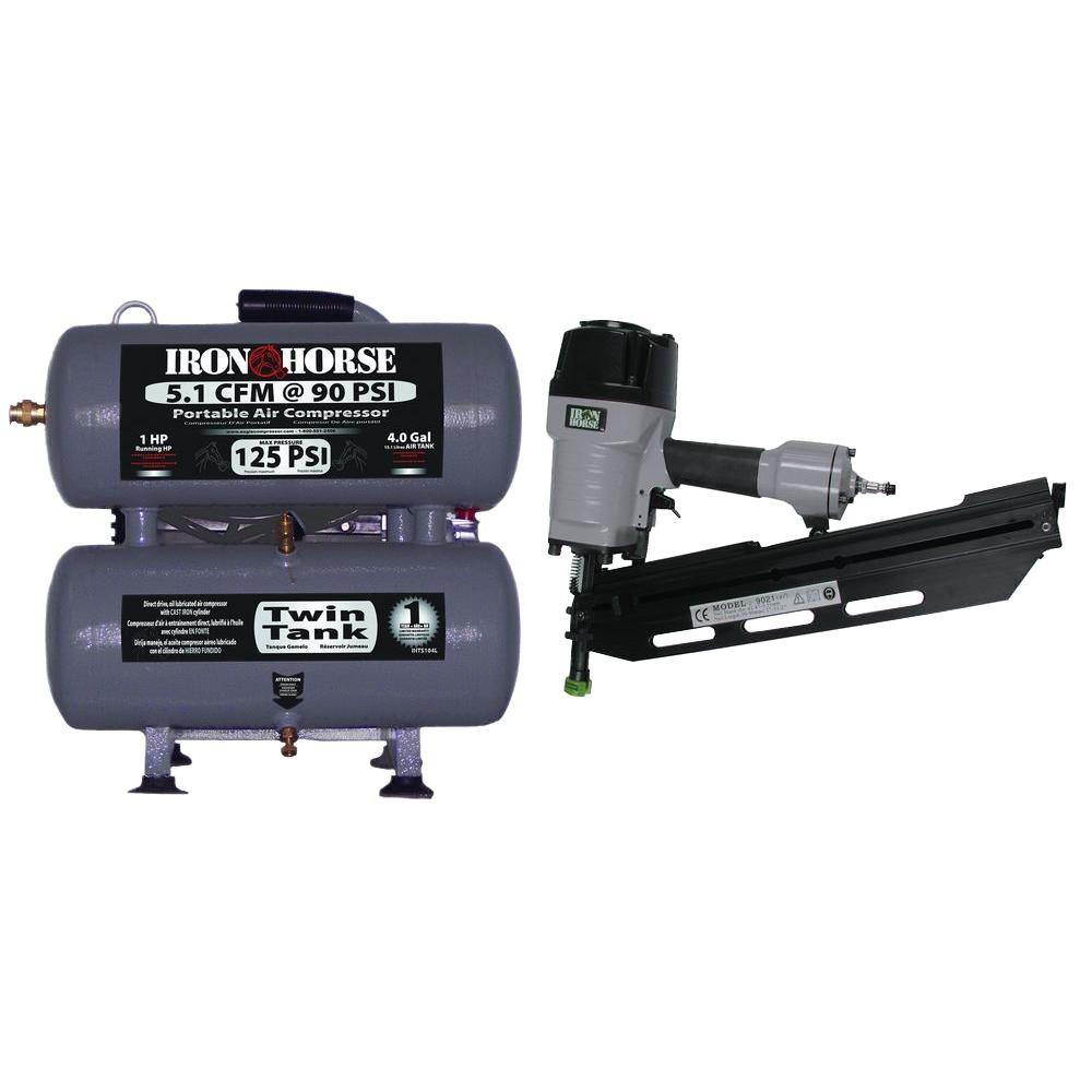 Iron Horse Combo Kit 4-Gal. Compressor with 21-Degree Framing Nailer-DISCONTINUED
