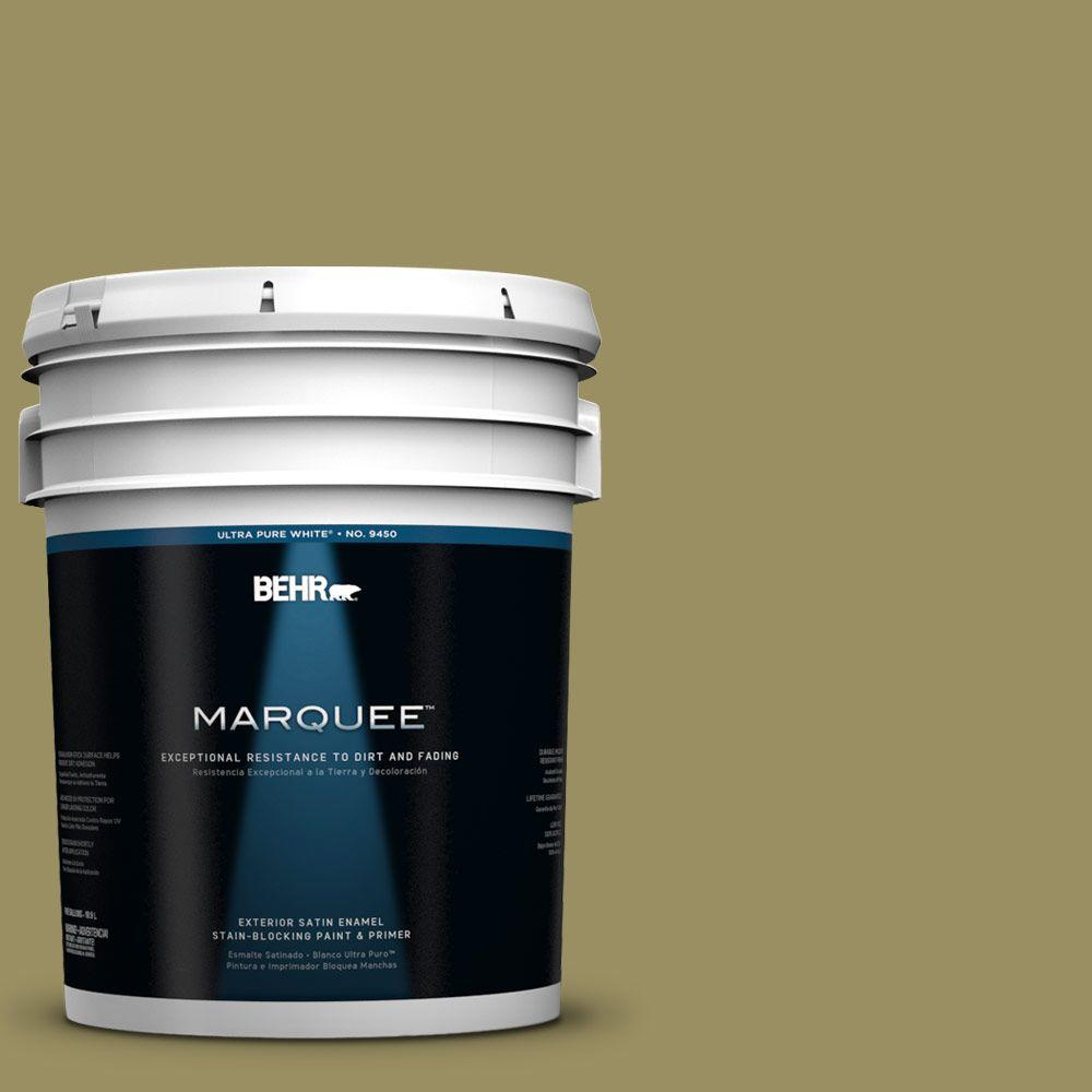 BEHR MARQUEE 5-gal. #390F-6 Tate Olive Satin Enamel Exterior Paint