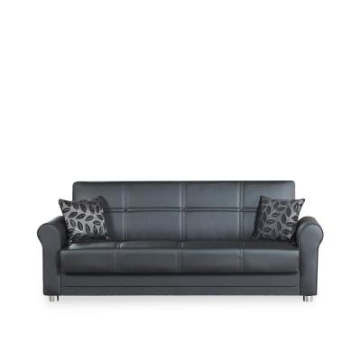Avalon Plus Black Leatherette Upholstery Sofa Sleeper Bed with Storage