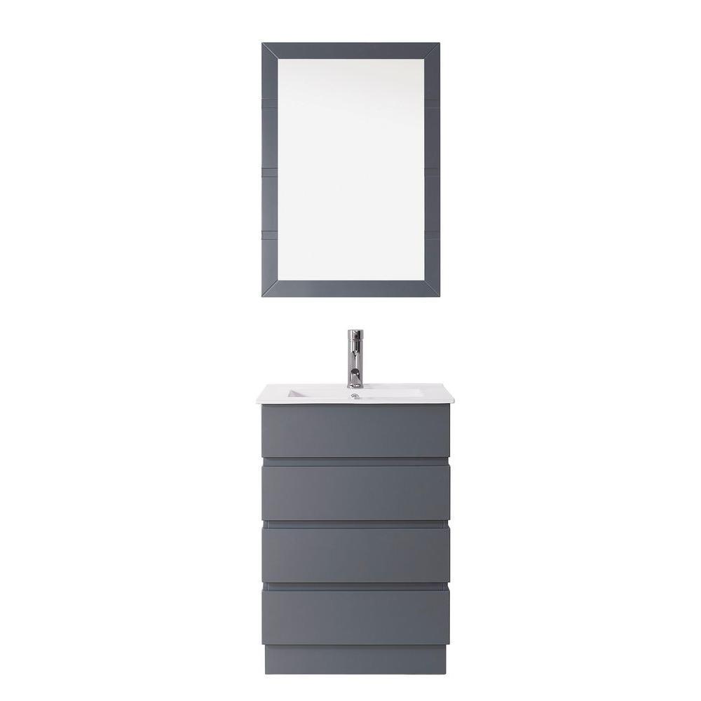 Virtu USA Bruno 24 in. Vanity in Grey with Ceramic Vanity Top in White and Mirror