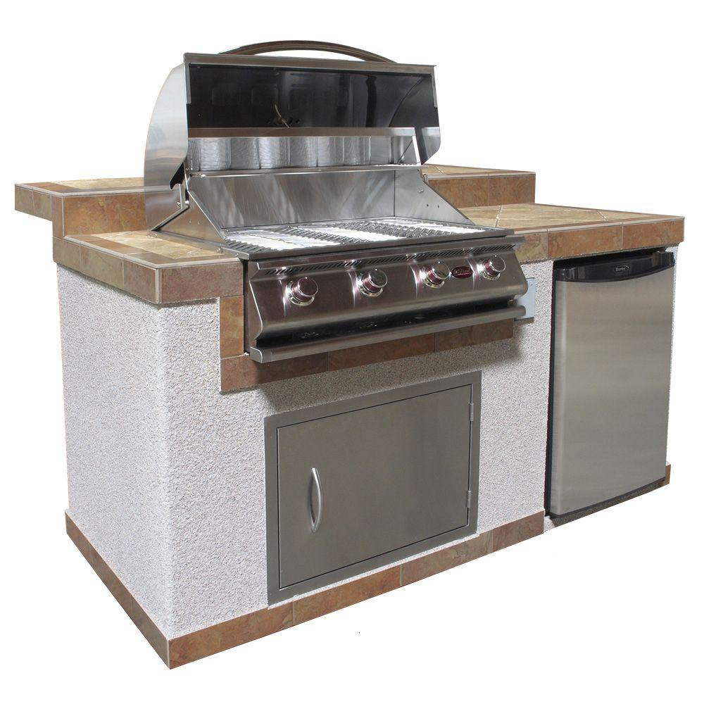 Cal Flame 6 ft. Pavilion Outdoor Kitchen Island with 4-Burner Stainless Steel Propane Gas Grill and Refrigerator-DISCONTINUED