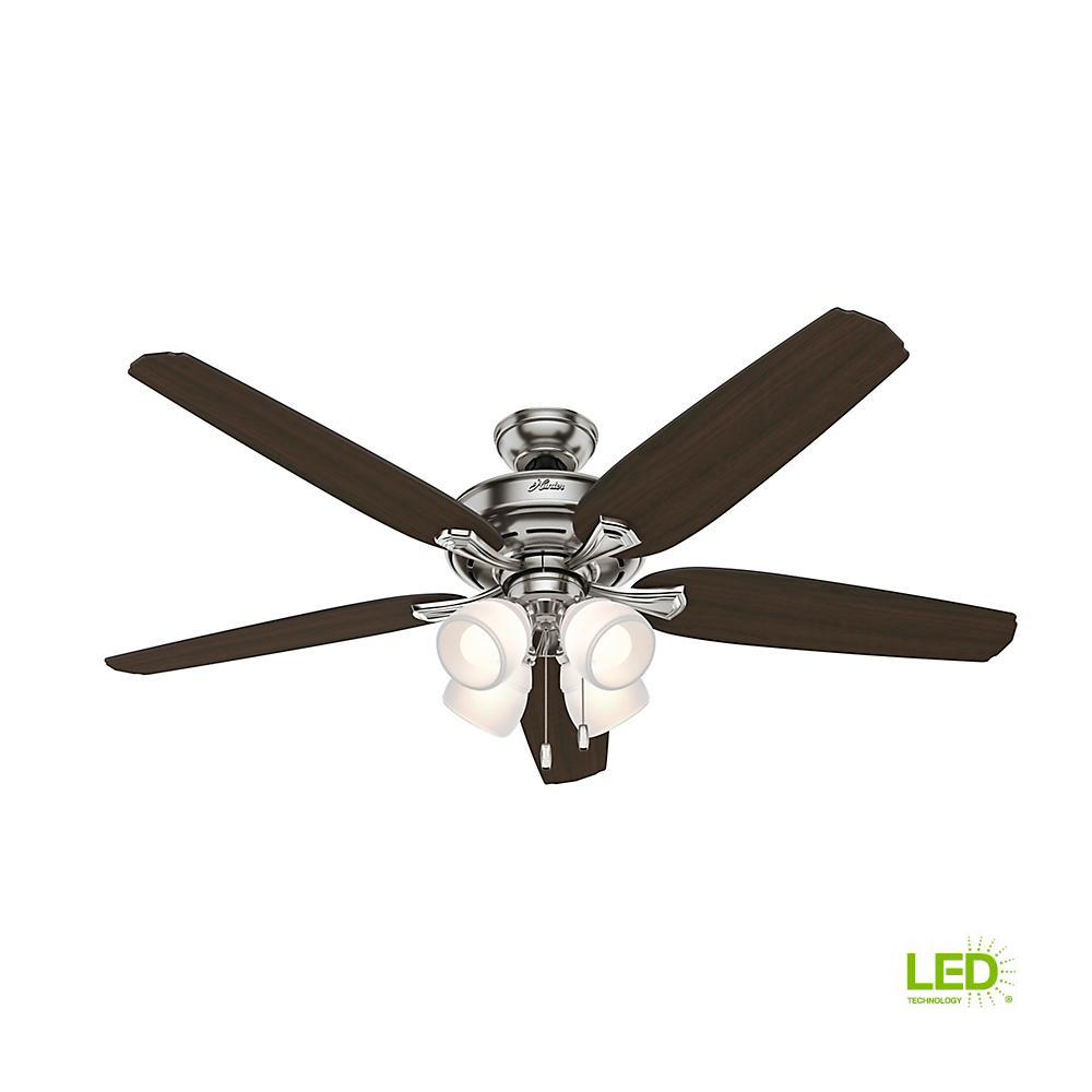 Hunter Channing 60 in. LED Indoor Brushed Nickel Ceiling Fan with ...