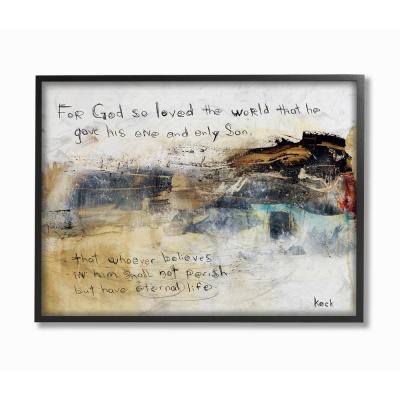 """24 in. x 30 in. """"Multicolor Abstract Painting Over Religious Sentiment Collage"""" by Michel Keck Framed Wall Art"""