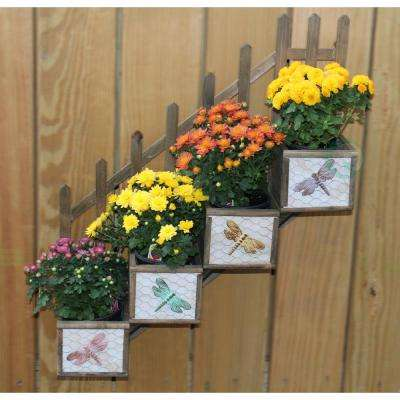 20 in. W x 5.2 in. D x 23.5 in. H Wood 4 Section Wall Planter