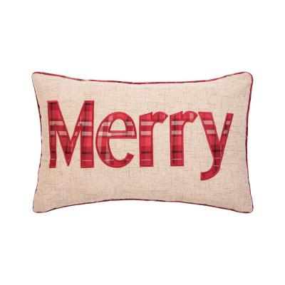 Merry Plaid Red Pillow 14 in. x 22 in.