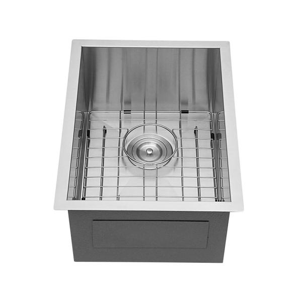 Stainless Steel 15 in. Single Bowl Undermount Kitchen Sink with Accessories