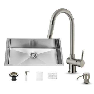 All-in-One Undermount Stainless Steel 32 in. 0-Hole Single Basin Kitchen Sink in Stainless Steel