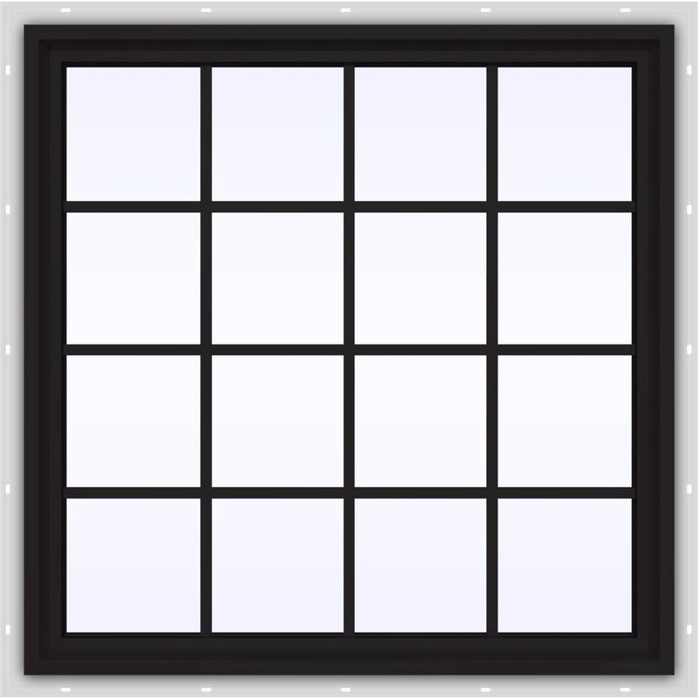JELD-WEN 47.5 in. x 47.5 in. V-4500 Series Black Painted Vinyl Fixed Picture Window with Colonial Grids/Grilles