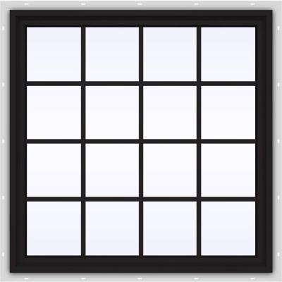 48 in. x 48 in. V-4500 Series Black FiniShield Vinyl Fixed Picture Window with Colonial Grids/Grilles