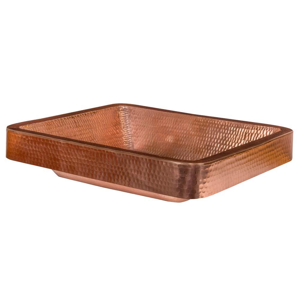 Rectangle Skirted Hammered Copper Vessel Sink in Polished Copper
