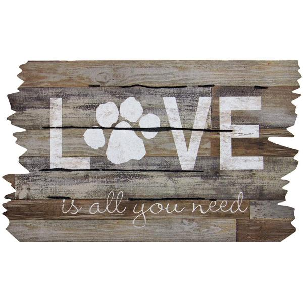 Love is All You Need Paw Print 18 in. x 30 in. Door Mat