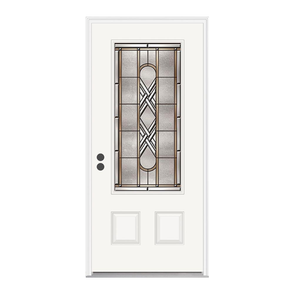 JELD-WEN 36 in. x 80 in. Ascot 3/4 Oval Lite Primed Premium Steel Prehung Front Door with Brickmould