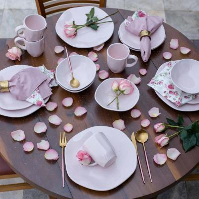 RYO 16-Piece Casual Pink Porcelain Dinnerware Set (Service for 4)