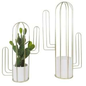 Gold Cactus with White Gold Pots Mid Century Flower Pot Holder Stand Indoor (Set of 2)