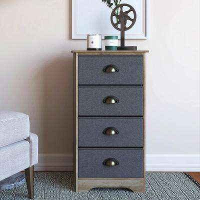 Calvin 4-Drawer Antique Gray Wood Dresser with Gray Fabric and Brass Metal Handle