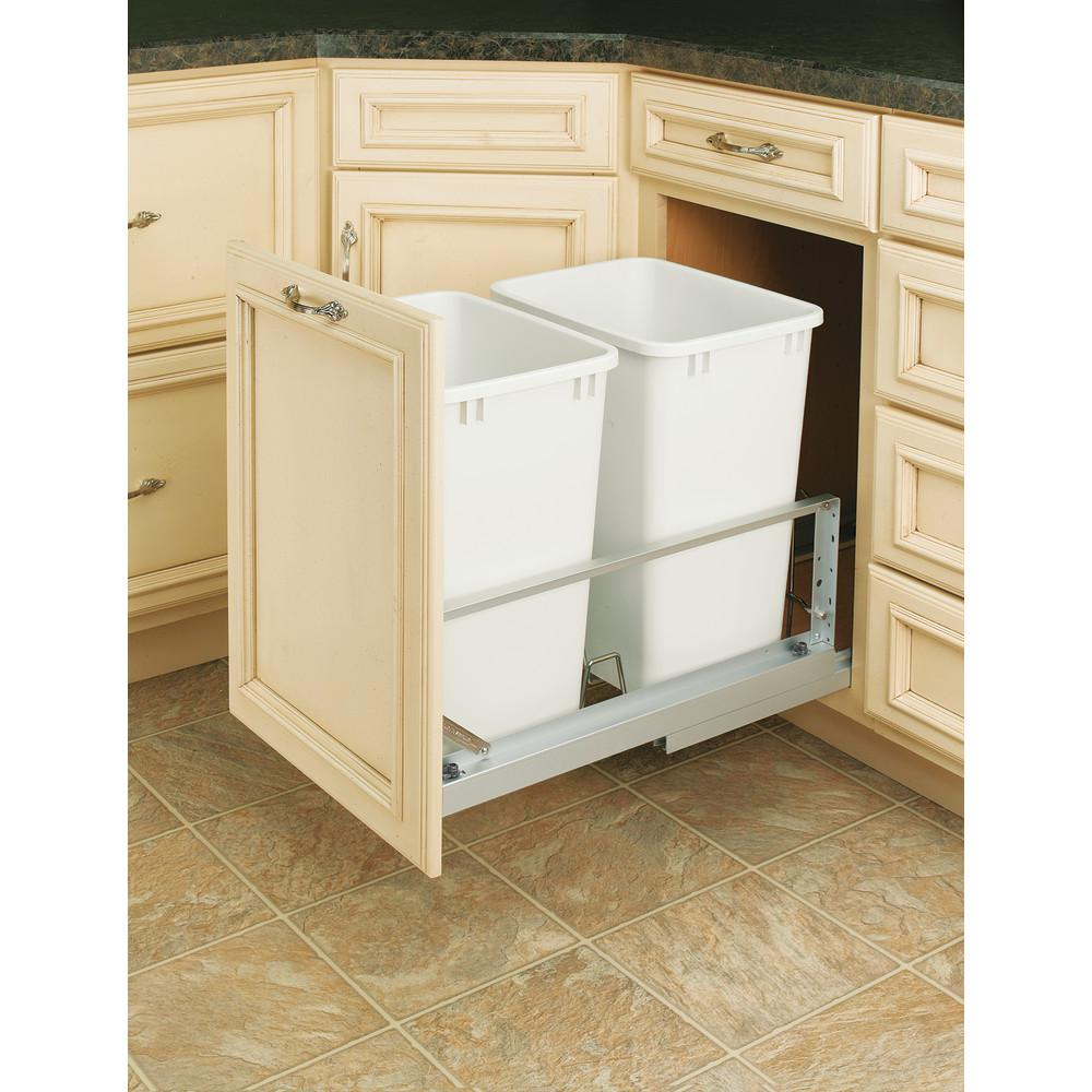 Rev-A-Shelf 19.25 in. H x 14.81 in. W x 22.13 in. D Double 35 Qt. Pull-Out Brushed Aluminum and White Waste Container