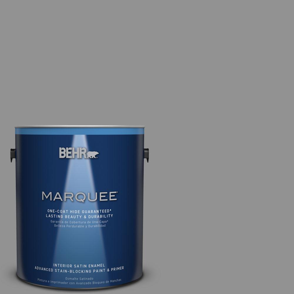 1 gal. #N520-4 Cool Ashes One-Coat Hide Satin Enamel Interior Paint