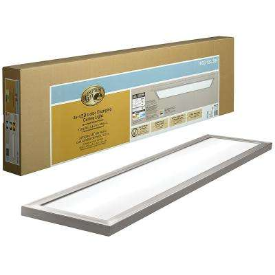 48 in. x 12 in. Low Profile Selectable LED Flush Mount Ceiling Flat Panel Brushed Nickel Rectangle 4000 Lumens Dimmable