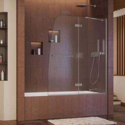 Aqua Ultra 48 in. x 58 in. Semi-Frameless Pivot Tub/Shower Door in Brushed Nickel