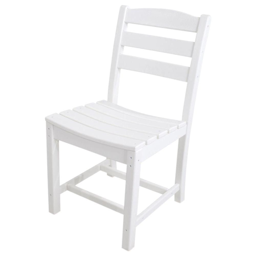 La Casa Cafe White All-Weather Plastic Outdoor Dining Side Chair