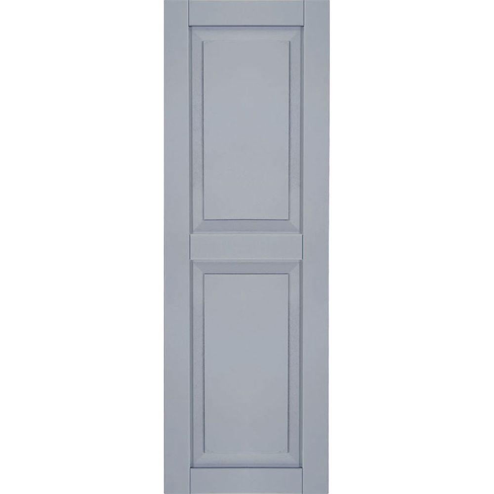 Ekena Millwork 18 in. x 28 in. Exterior Composite Wood Raised Panel Shutters Pair Unfinished