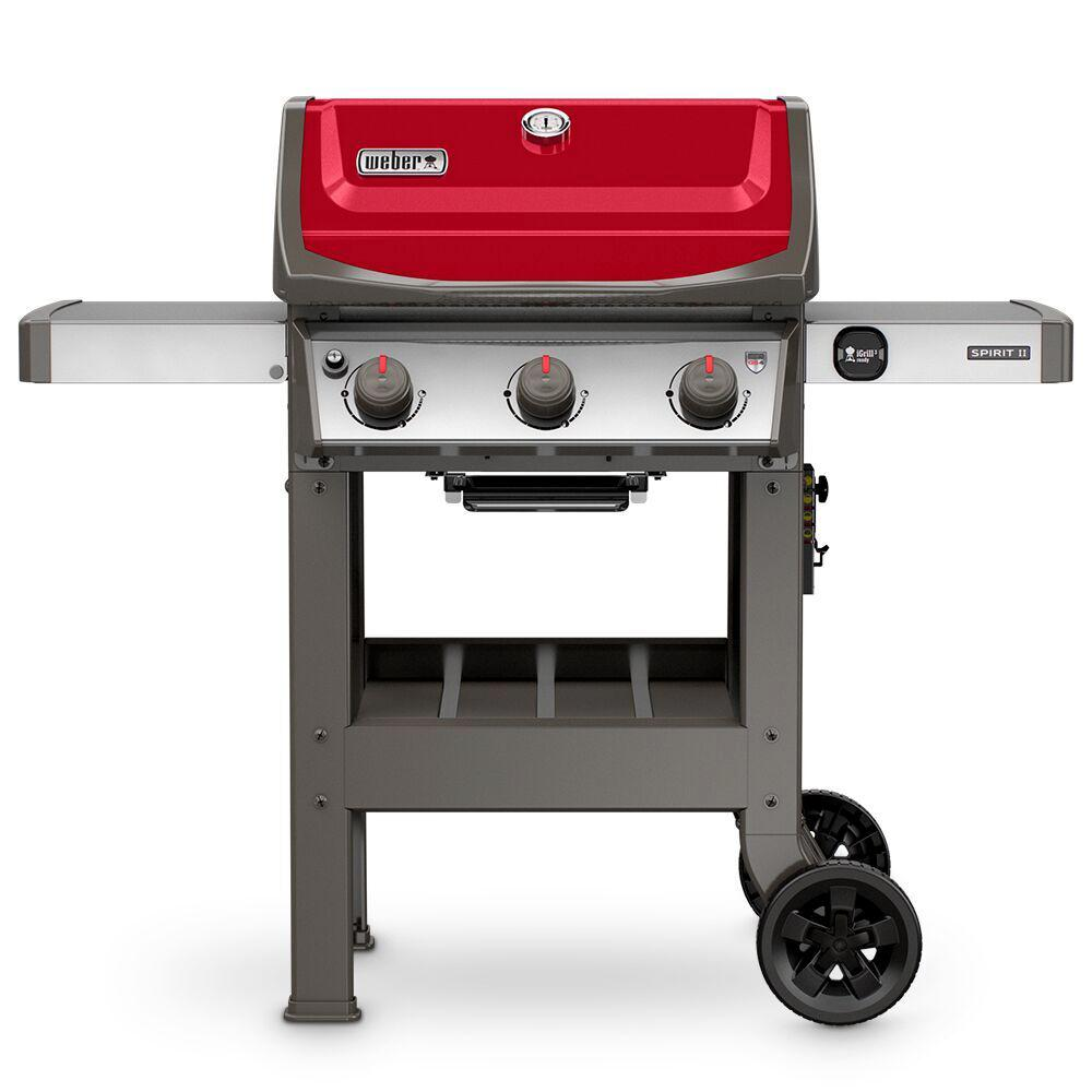weber spirit ii e 310 3 burner propane gas grill in red 45030001 the home depot. Black Bedroom Furniture Sets. Home Design Ideas