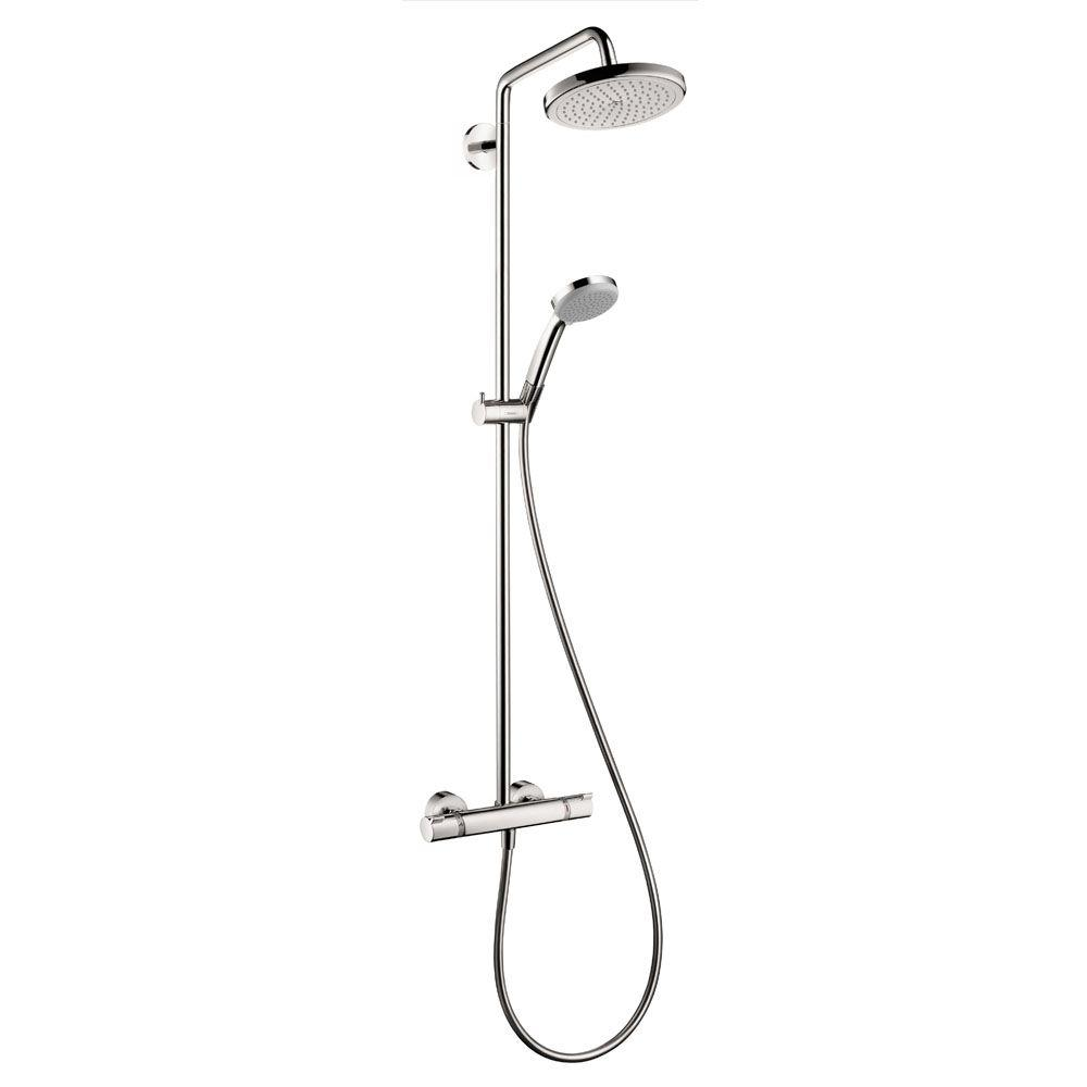 Hansgrohe Croma 220 Shower Pipe in Chrome-27185001 - The Home Depot