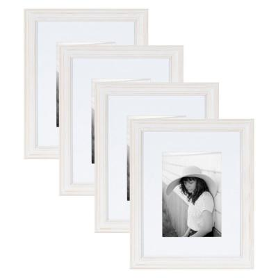 Bordeaux 8 in. x 10 in. matted to 5 in. x 7 in. White Picture Frames (Set of 4)