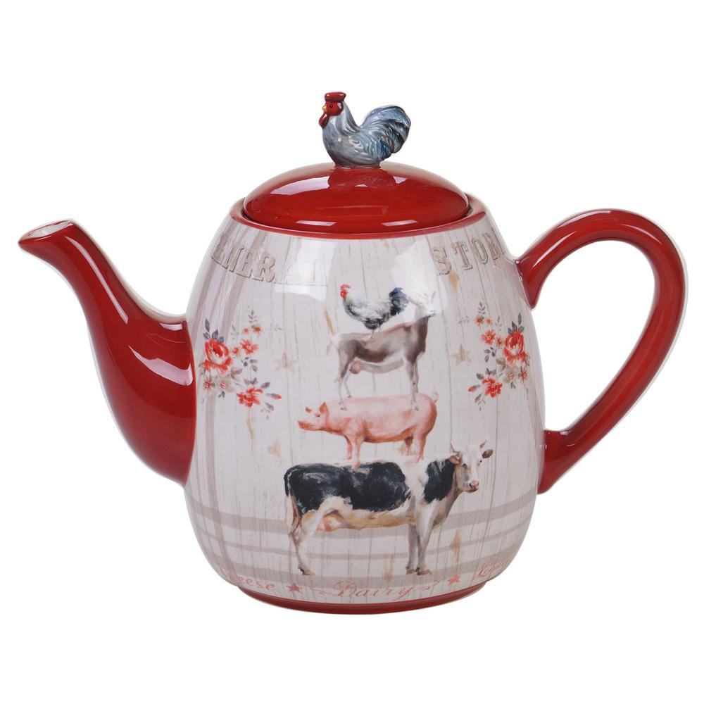 Certified International Farmhouse 4 Cup Multi Colored Teapot 26746 The Home Depot