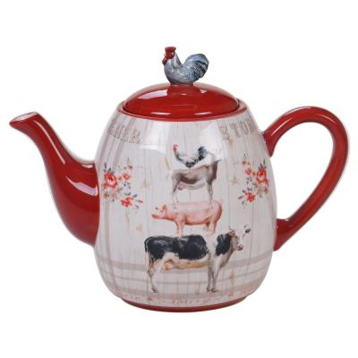 Farmhouse 4-Cup Multi-Colored Teapot