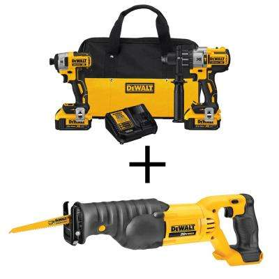 20-Volt MAX XR Lithium-Ion Cordless Brushless Combo Kit (2-Tool) with Bonus Bare Cordless Reciprocating Saw