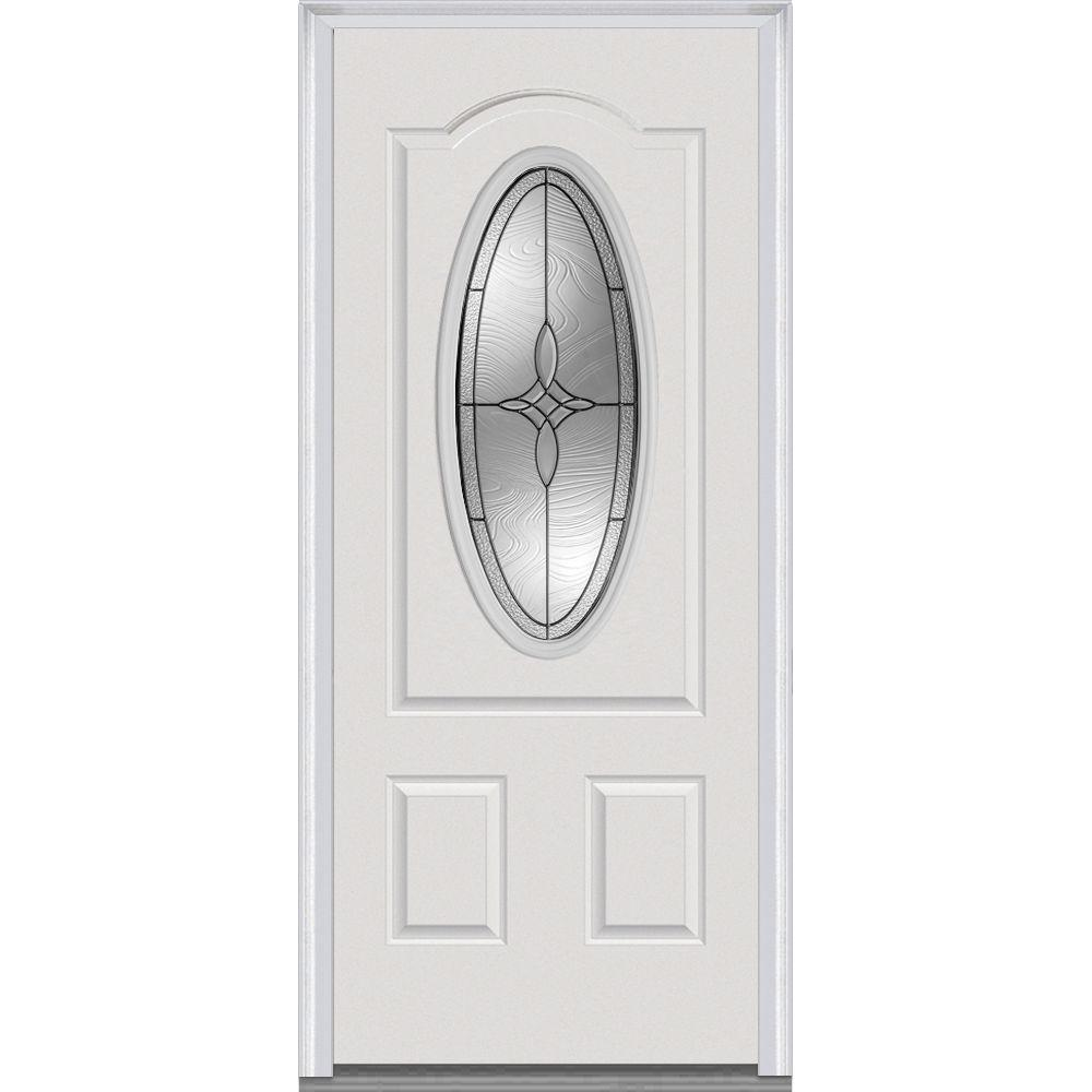 36 in. x 80 in. Lenora Right-Hand 3/4 Oval Lite 2-Panel