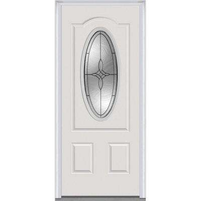 36 in. x 80 in. Lenora Right-Hand 3/4 Oval Lite 2-Panel Arch Classic Primed Steel Prehung Front Door