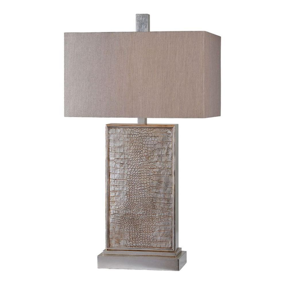 Illumine Luna 30 in. Silver Leaf Incandescent Table Lamp