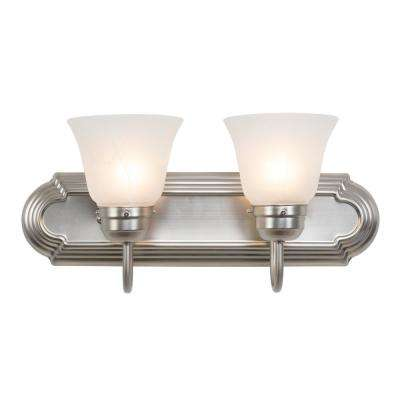 Vanity Lighting Family 2-Light Satin Nickel Frame Bathroom Vanity Light with Alabaster Shade