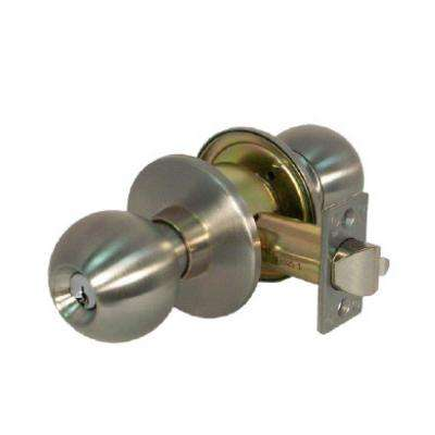Heavy Duty Grade 1 Cylindrical Classroom Function Keyed Entry Door Knob in Satin Stainless Steel
