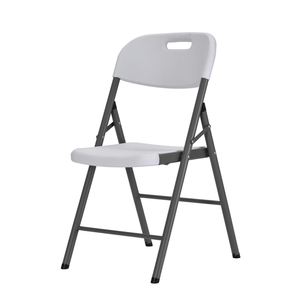 Muscle Rack White Plastic Seat Metal Frame Portable Folding Chair (Set of 4)