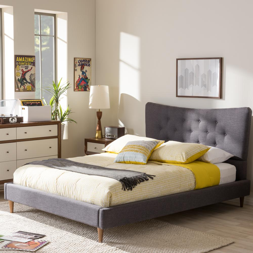 baxton studio bed baxton studio gray upholstered bed 28862 7006 28923