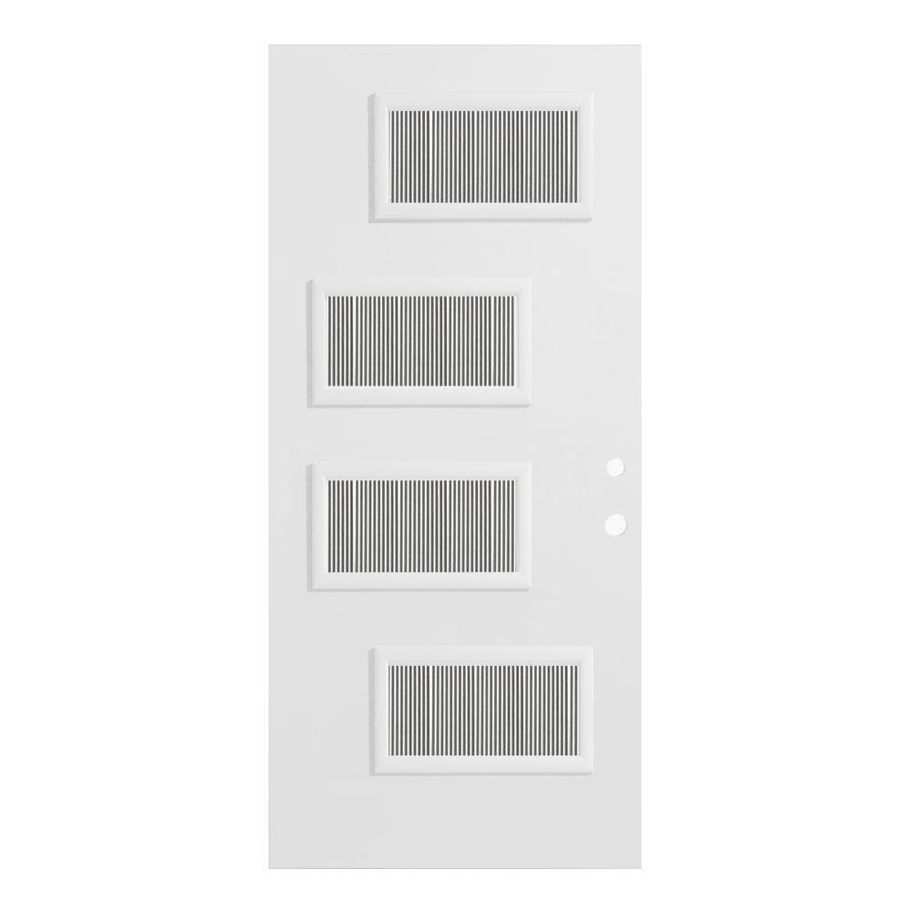 Stanley Doors 33.375 in. x 82.375 in. Beatrice Flutelite 4 Lite Painted White Left-Hand Inswing Steel Prehung Front Door