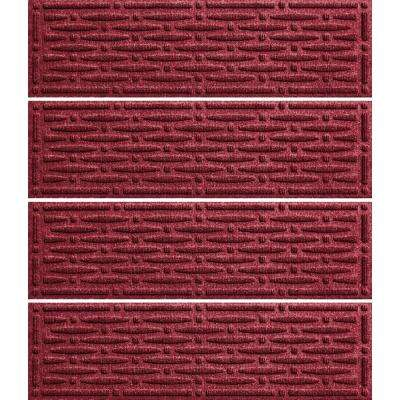 Red Black 8.5 in. x 30 in. Mesh Stair Tread Cover (Set of 4)