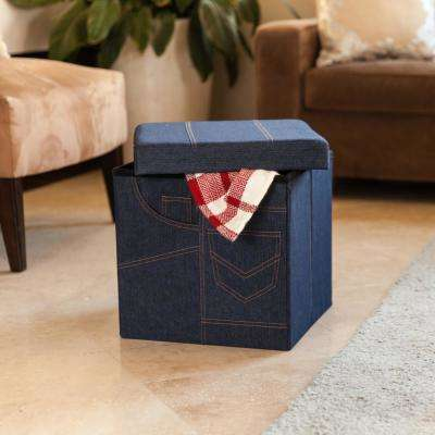 Folding Denim Storage Ottoman with Pockets