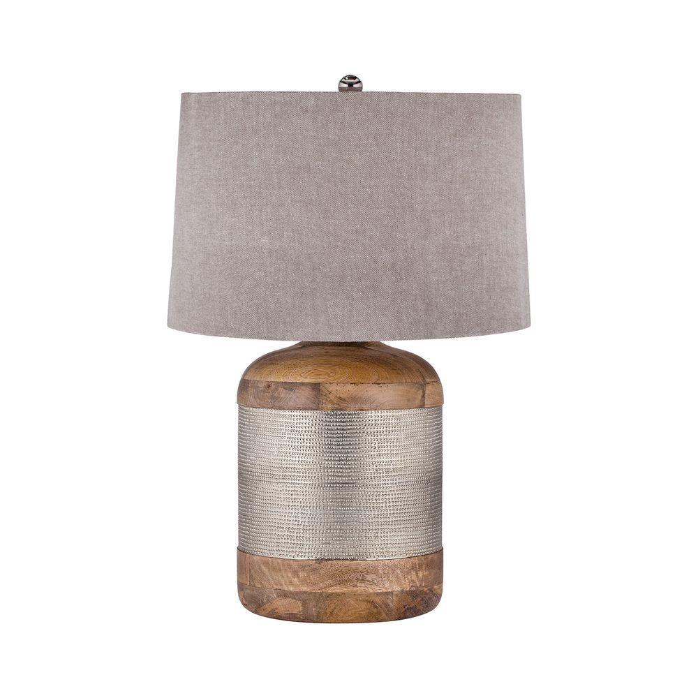German Silver Drum Table Lamp
